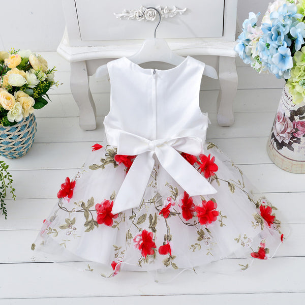 Retail High Quality Pure Cotton Inside Flower Girl Dresses With Pattern Kids Party Clothes Girl Sleeveless Dress T264