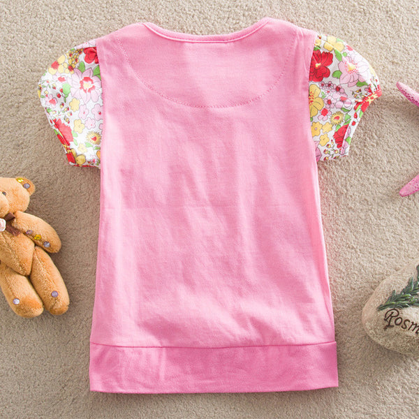 Retail NEAT 2014 new free shipping children t shirts T-shirts flower baby girls short sleeve lace clothing kids wear 1-6Y S2152