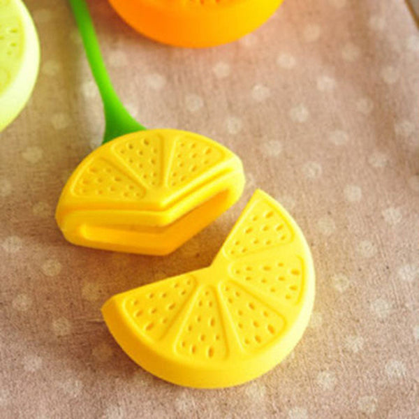 Reuseable Foof safe Silicone Yellow Lemon Shape Tea Leaf Bag Holder Tea Coffee Herb Punch Filter Tea Infuser