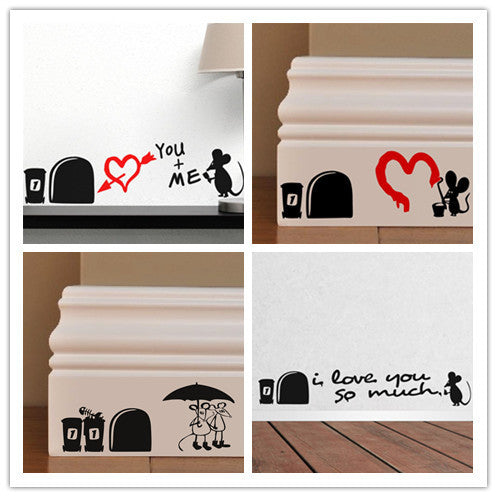 Romantic Love MOUSE Sweetheart Rats Hole home decal wall sticker different design for wedding decoration wall art ZY381