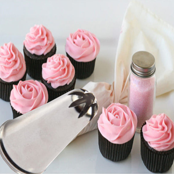 Rose Flower Cup Ice Cream Piping Tip Nozzle Cake Decorating Pastry Tools