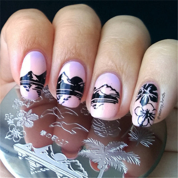Round 5.5cm Nail Art Stamp Template Hawaii Sea Mew Design Image Plate #17