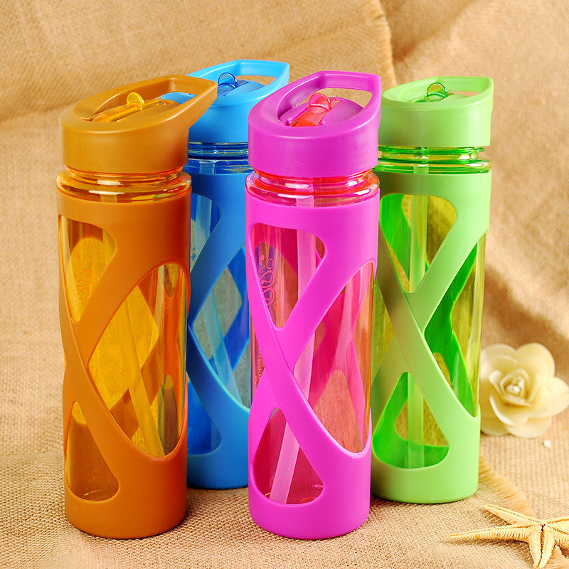 Seal Straw Sport Water Bottle Anti Hot With A Plastic Sleeve Drink Bottles Eco-friendly Protein Powder Shaker Sport vessel