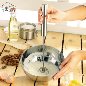 Semi-automatic Eggbeater Manual Self Turning Stainless Steel Whisk Hand Mixer Blender Egg Tools Kitchen Dining & Bar 2016 NEW