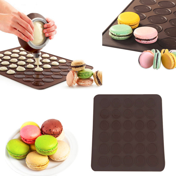 Silicone 30-Cavity DIY Muffins Almond Round Cakes Tools Pastry Macaron Baking Sheet Mat Large Cookie Decorating Baking Mold