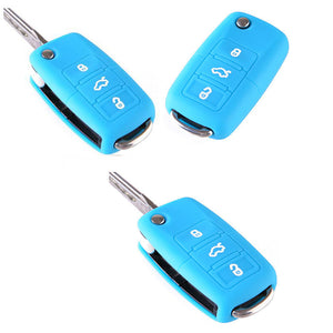 Silicone Car Key Cover Plus Blue Folding Key Flip Fob Shell
