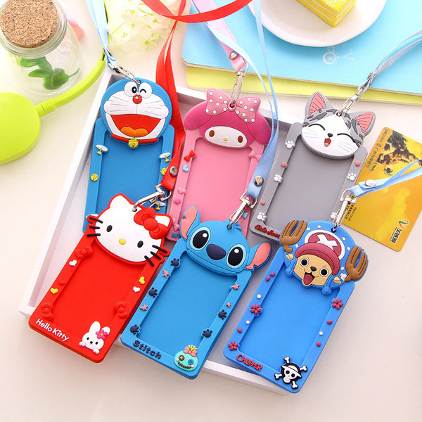 Silicone Cartoon ID card holder With hanging rope Hello kitty Minions cute case Stationery Office school supplies 5037