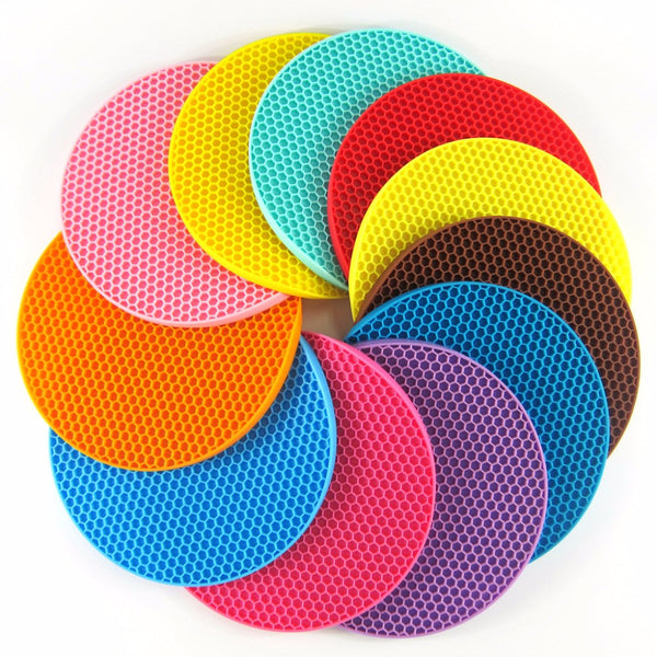 Silicone Pot Holders Multipurpose Round Pot Holders Trivets Jar Openers & Spoon Rests - Extra Thick