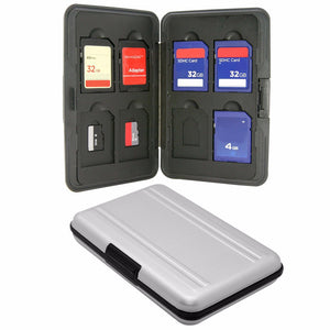 Silver Micro SD Card Holder SDXC Storage Holder Memory Card Case Protector Aluminum case 16 solts for SD SDHC SDXC Micro SD