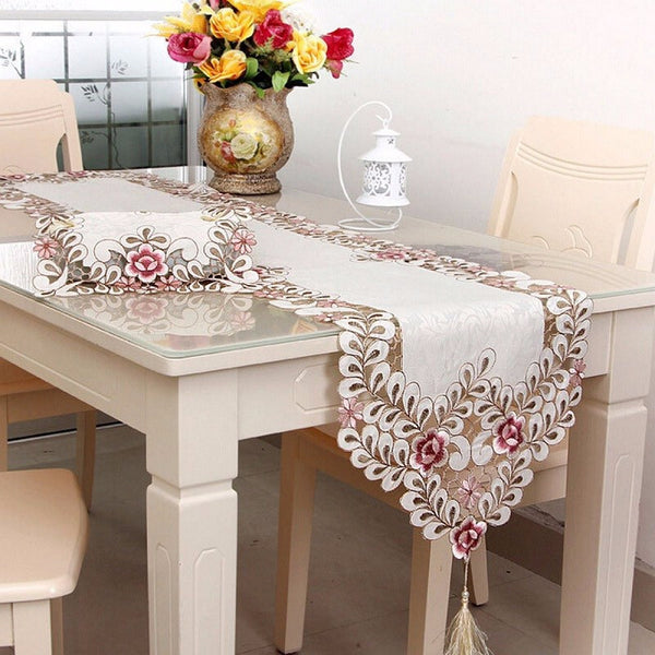 Simple Embroidery Cloth Pastoral Dining Table Runner European Art Bed Flag TV Cabinet Cloths Cover Special Cup Mats Home Textile