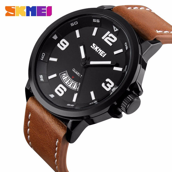Skmei Leather Digital Stainless Steel Digital Wristwatches Men 9115