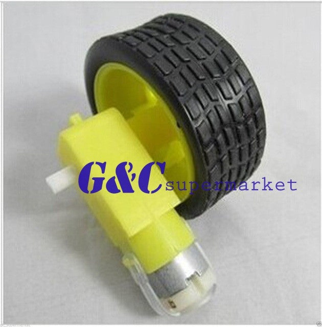 smart Car Robot Plastic Tire Wheel with DC 3-6v Gear Motor