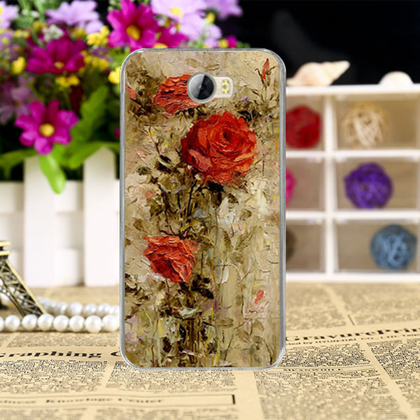 soft Cases for Huawei Y5 II Y6 ii Compact Y6 ii MINI CUN-U29 Y5 2 Y5II Y5 2nd 5.0 inch cases Rose Case Peony Flowers Background