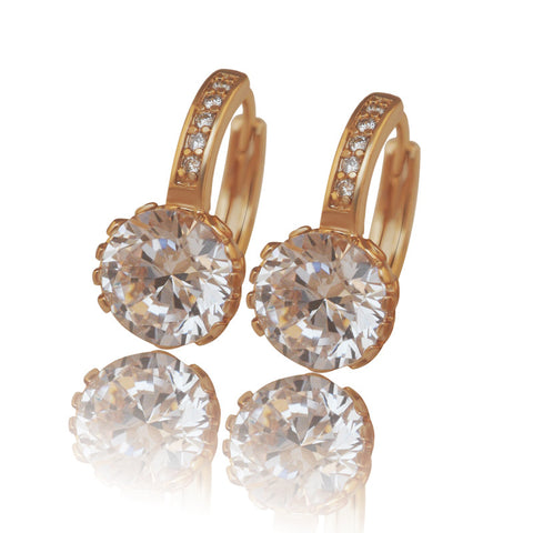 (Special pirce ) Fashion Hoop Earrings 18 K Gold Plated Women Clear Stone