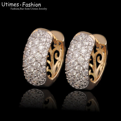 (special price) Fashion AAA+ Zircon Hoop Earrings (18 K Yellow Gold Plated) women for Lead and Nickel Free