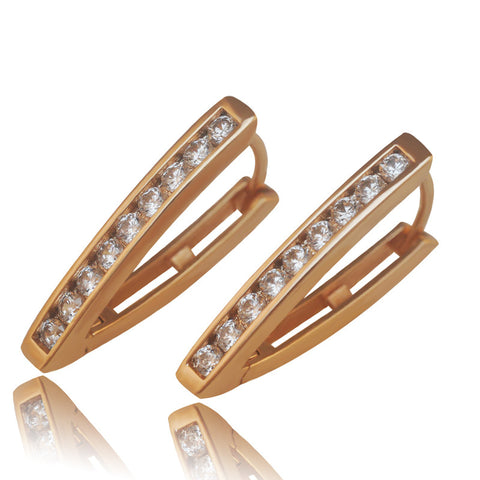 (special price) Hoop Earrings 18 K Gold Plated for Women Triangle 2017 Spring New