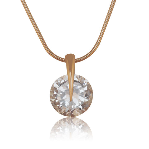 (Special Price)Single Round Stone Pendant Women Fashion Gold Plated with Free Matching Chain