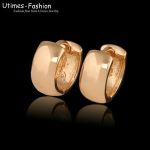 (Special price)Smooth Hoop Earings (15x6 mm) 18 k Gold Plated Women No Stone Forever Classic Style