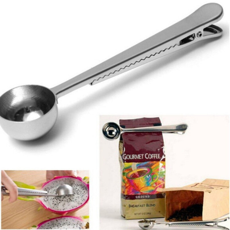 Stainless Steel Ground Coffee Spoon With Clip Tea Measuring Scoop Measuring Scoop Seal Clip Cooking Tools