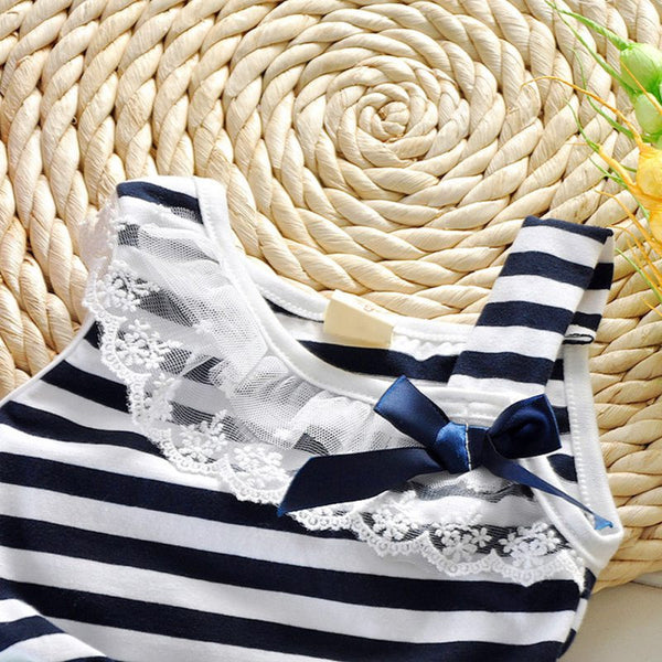 Summer Baby Girls Cotton Sleeveless Dresses Lace Bow-knot Striped Bubblet Tutu Dress 1-4Y