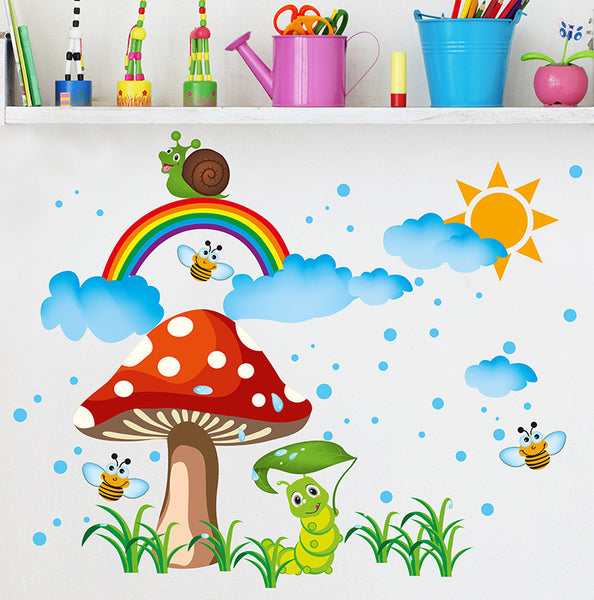 Sun Rain and Rainbow Wall Art Stickers Kids Babies Nursery Decor Wall Poster Cartoon Animals Snail Bee in the Rain Wallpaper