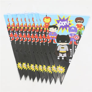 Superhero Avenger Paper Banners Bunting Birthday Party Decorations