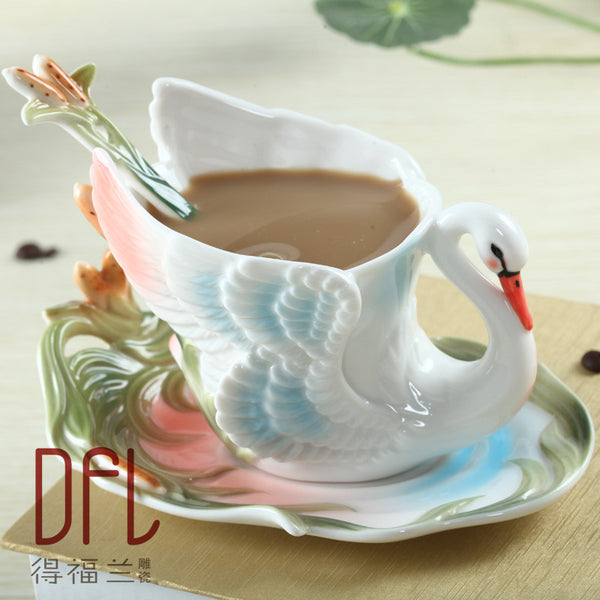 Swan Coffee Cup Colored enamel porcelain Mug with saucers and teaspoons of holiday Get married creative gift Free shipping