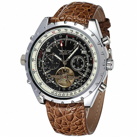 T-winner Leather Automatic Self-wind Stainless Steel Mechanical Wristwatches Men Winner 019