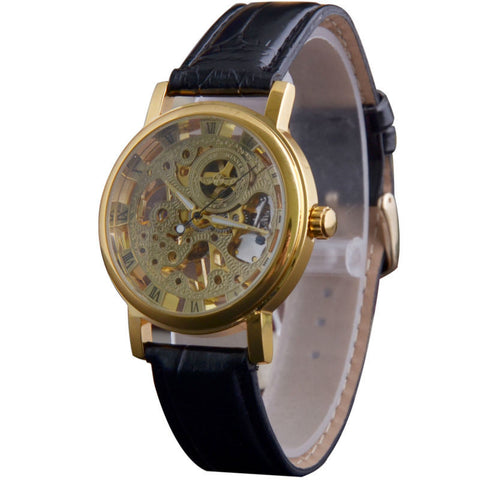 T-winner Leather Stainless Steel Wristwatches Men Mechanical Watches