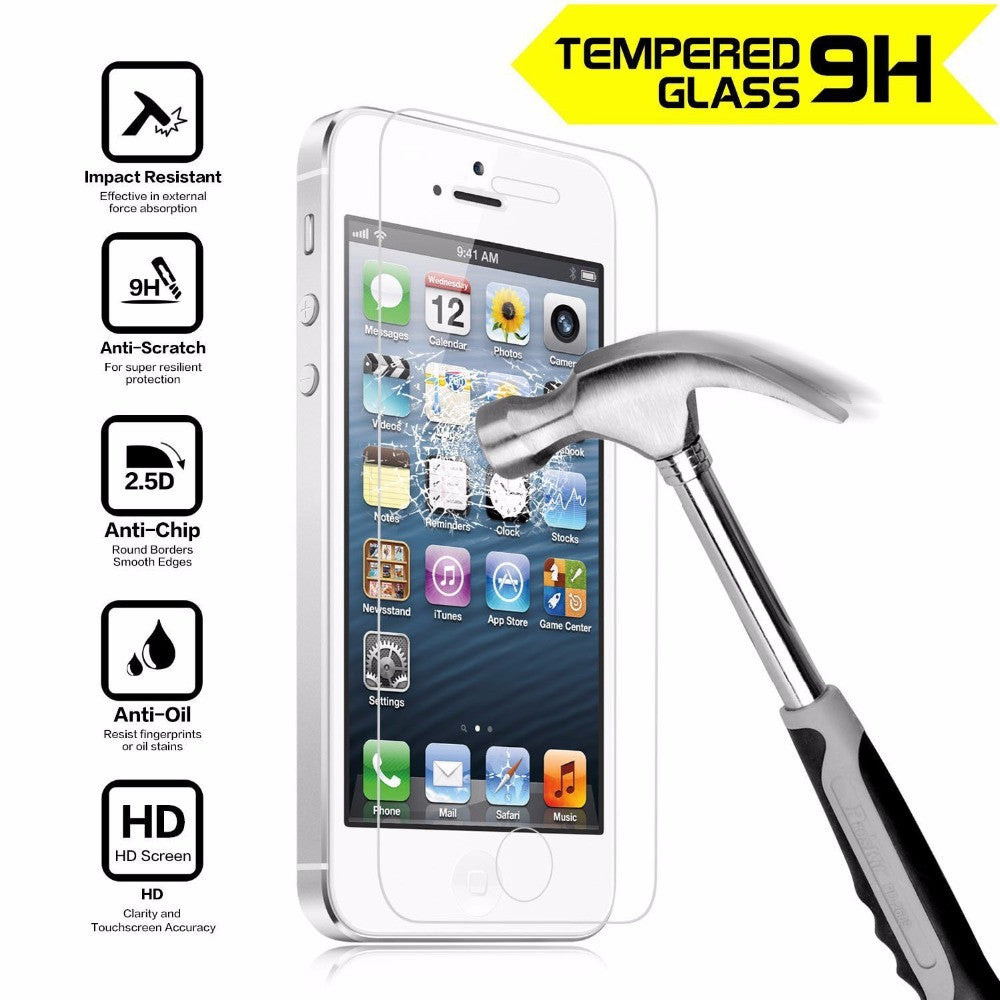 Tempered Glass Screen Protector Film For Apple iPhone 4 4S 5 5S 5C SE 6 6S 7 Plus Anti Shatter Film Guard 0.33MM 9H Anti-Scratch