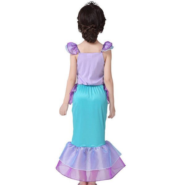 The Little Mermaid Fancy Kids Girls Dresses Princess Ariel Cosplay Halloween Costume ankle-length puff sleeve dress with mermaid