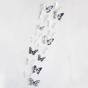Top Grand Crystal 18Pcs 3D Butterflies DIY Decor Wall Stickers Kids Room Christmas Party Decoration Kitchen Refrigerator Decal