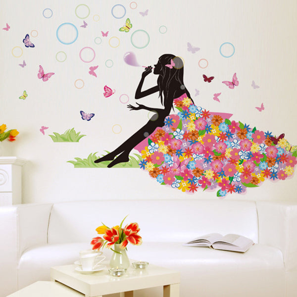 Top Grand Flowers Butterflies princess fantasy colorful butterfly pattern wall stickers for girls room home art decor decals