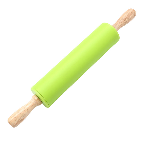 TTLIFE Hot Selling Rolling Pin Home Decoration Kitichen Cooking Tools Wood Handle Green Silicone Rolling Pins Three Size