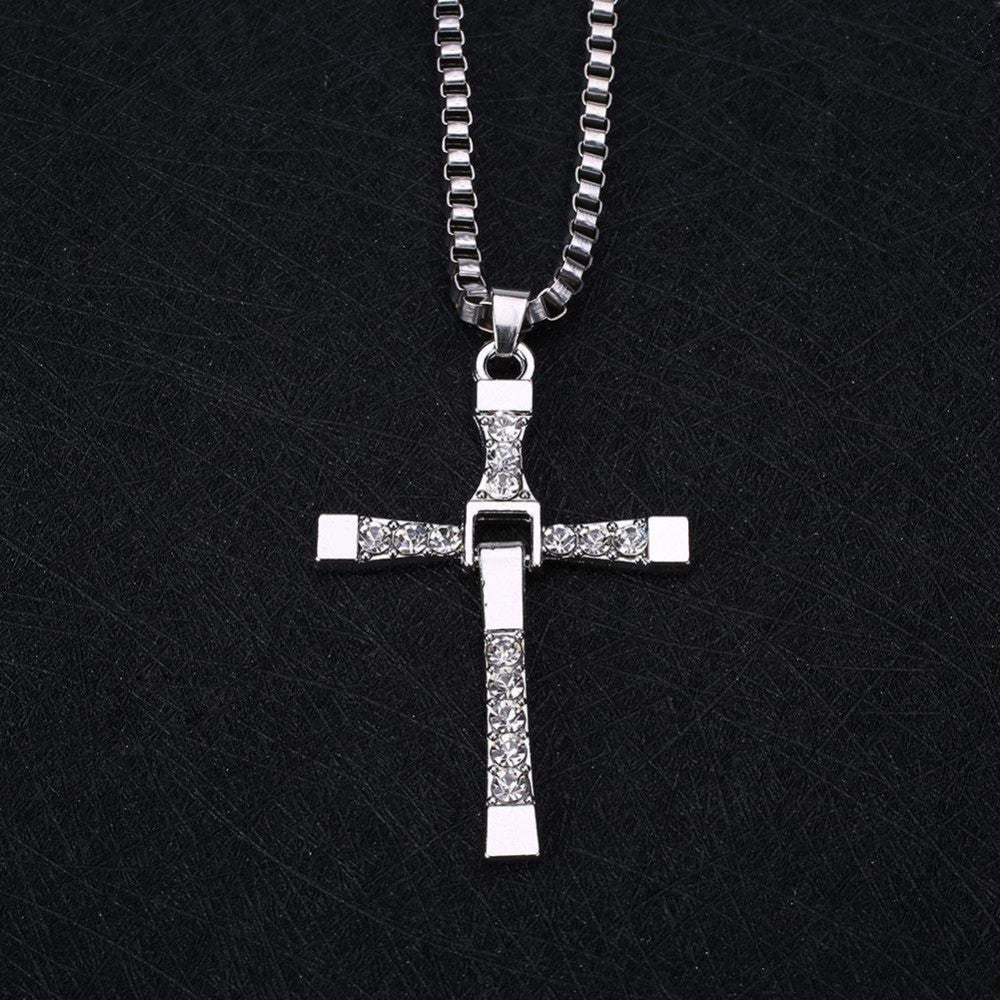 Unisex's Car Motorcycle Gold Cross Black Silver Necklace Car Ornaments Design for Driving Life