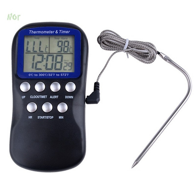 Useful triple LCD Temperature Food Probe Oven Meat Digital Thermometer Kitchen Timer Humidity Cooking Clock termometro Cozinha