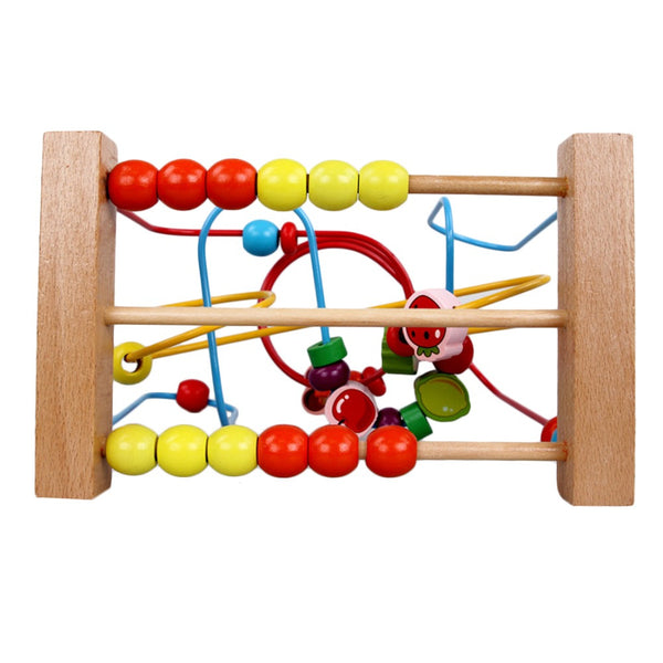 UTOYSLAND Free shipping Counting Fruit Bead Wire Maze Roller Coaster Wooden early Educational Toy for Baby Kids Chilrden