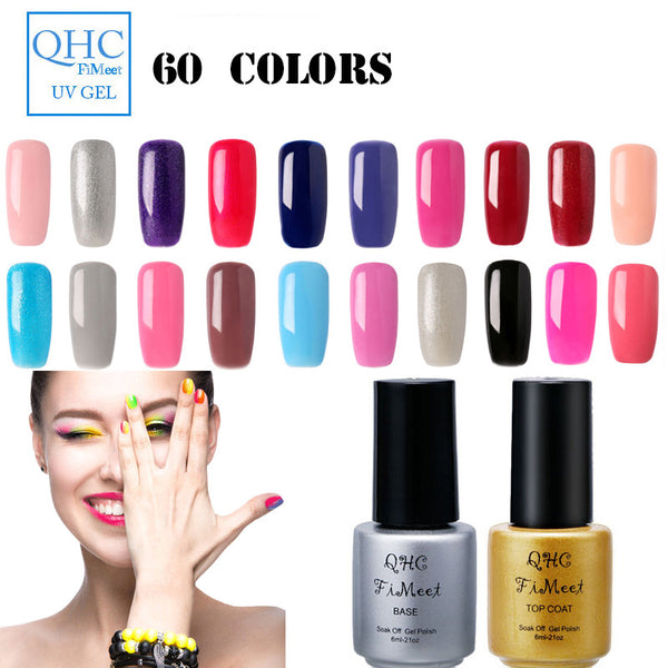 UV Nails Charming Women Sweet Girl Color Long Lasting Manicure Soak-off lacquer Gel Nail Polish 60 color Choose-QHC FiMeet 41-60