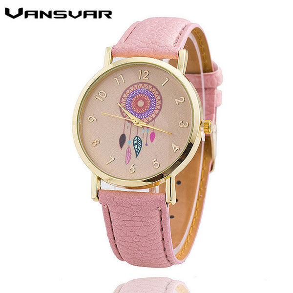 Vansvar Leather Quartz Stainless Steel Quartz Wristwatches Women 1635