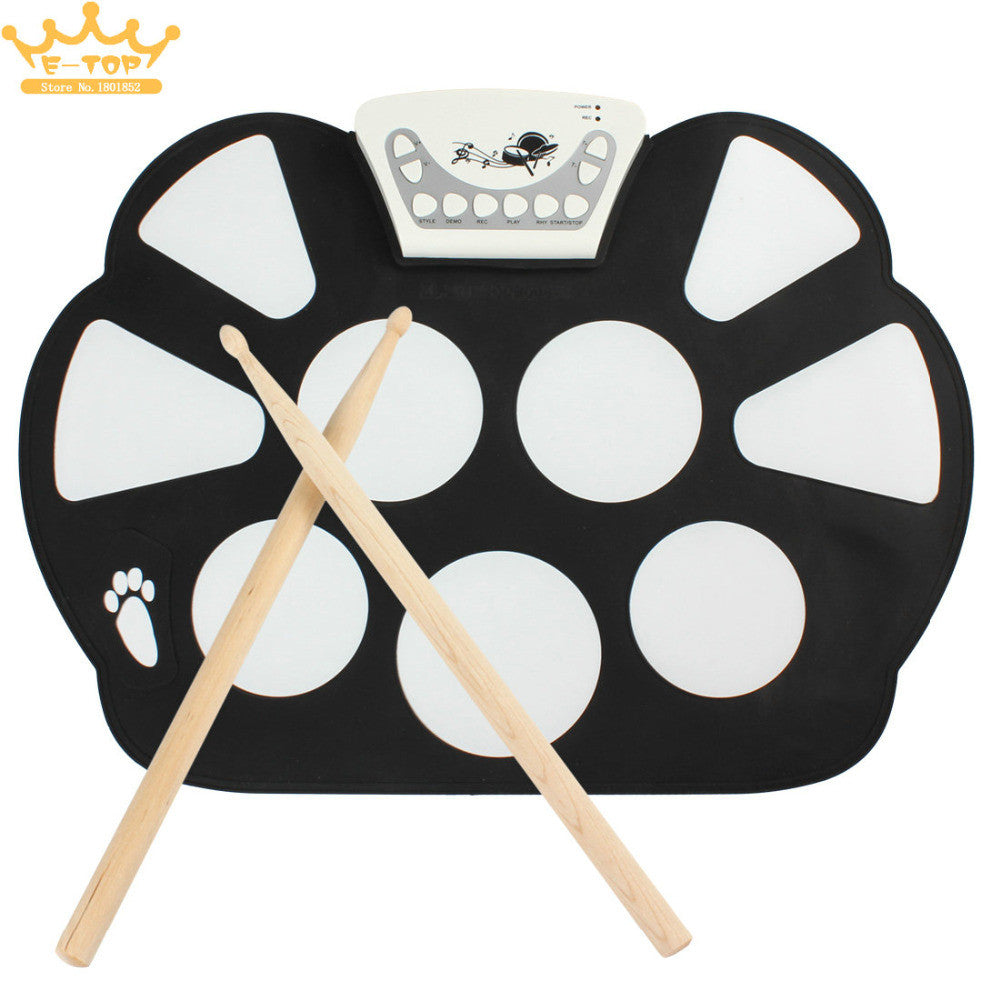 W758 Digital Portable 9 Pad Musical Instrument Electronic Roll-up Drum Kit