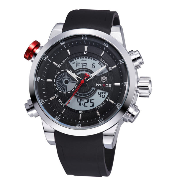 Weide Rubber Quartz Stainless Steel Quartz Wristwatches Men 3401