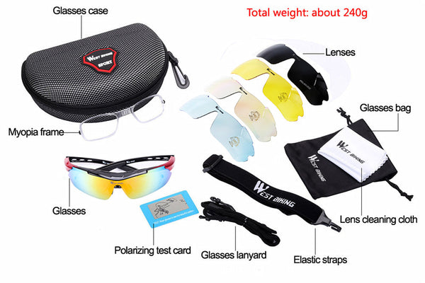 WEST BIKING Cycling Glasses 5 Lens Windproof Anti-fog With Mypia Frame Sport MTB Bike Bicycle Polarized Cycling Glasses 5 lens