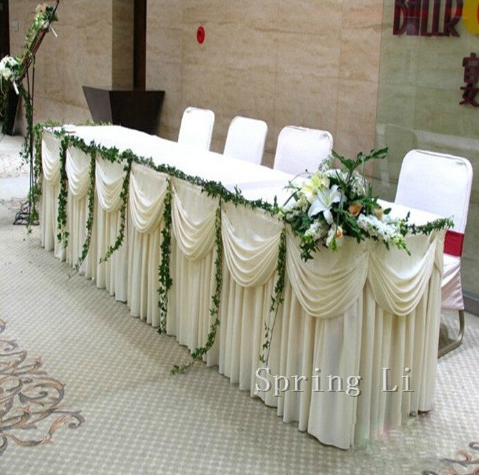 White Luxury Table Skirt With Swag For Wedding Decoration