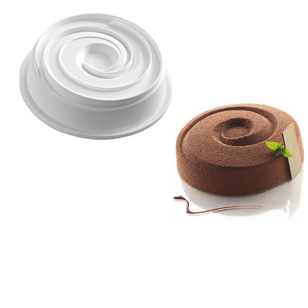 White Vortex Spiral Round Shaped Silicone Baking Freezing Mold For Whirlpool Shaped Muffin Dessert Pudding and Jello Non Stick