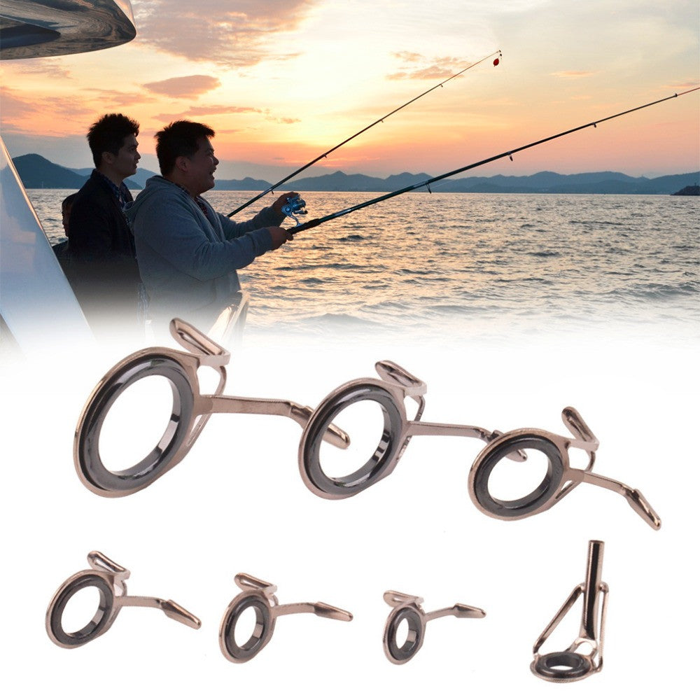 Wholesale 7 Size Vintage Oval Fishing Tips Rod Guides Ring Stainless Pole Repair Kit Free Shipping
