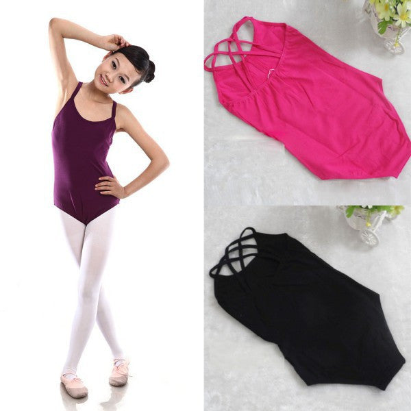 Wholesale Kids Girls Sleeveless Ballet Gymnastics Bodysuit Leotard Cotton Dance Suit Outfits 6-12Y