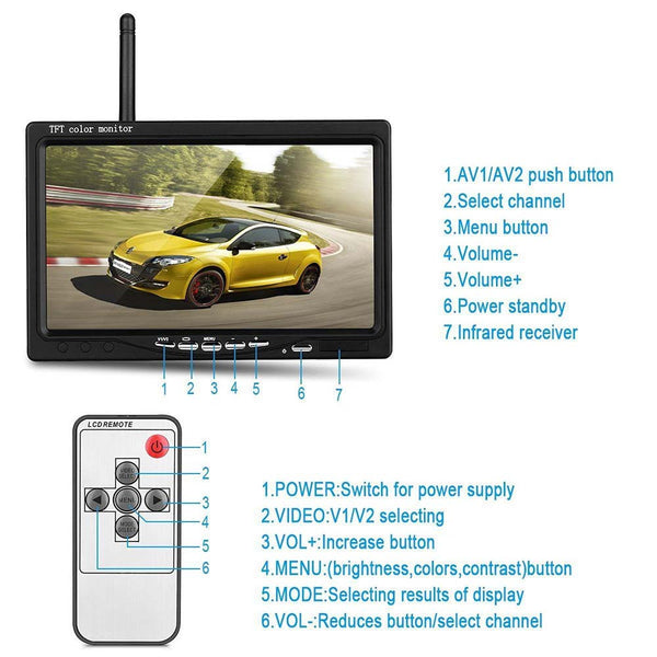 "Wireless Dual Backup Cameras Parking Assistance Night Vision Waterproof Rear View Camera + 7"" Monitor for RV Truck Trailer Bus"
