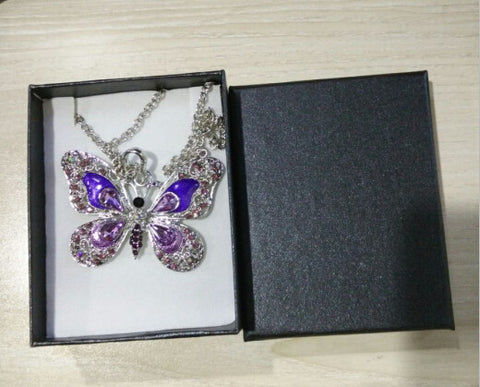 (with BOX ) Dragonfly Necklace and Butterfly Necklace Vintage Enamel Crystal Necklace Animal Pendant for Women
