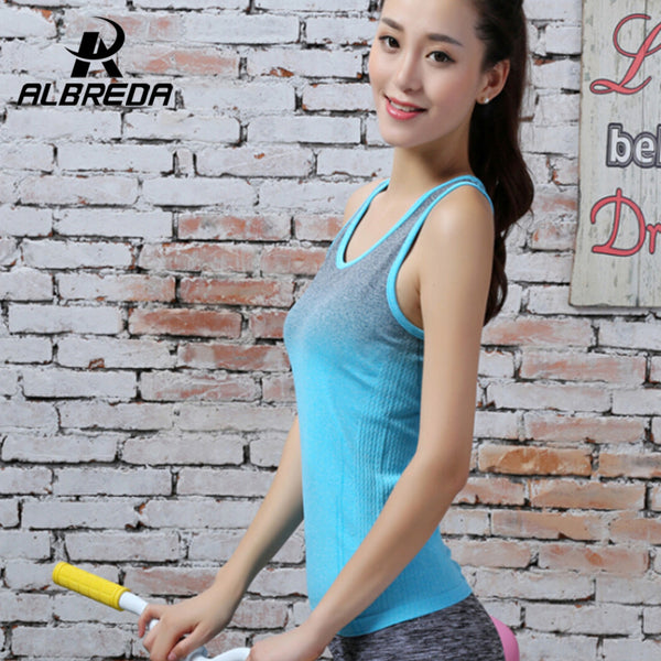 Womens Gradient Color Yoga Shirts Running Elastic Breathable Fitness Shirt Vest Ladies Double Movement Tank Top for Woman RODEX