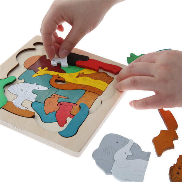 Wooden Puzzle Toys Kids Dinosau Animal Transport Multi-dimensional 3D Jigsaw Wooden Learning Puzzle Children Gift Toy